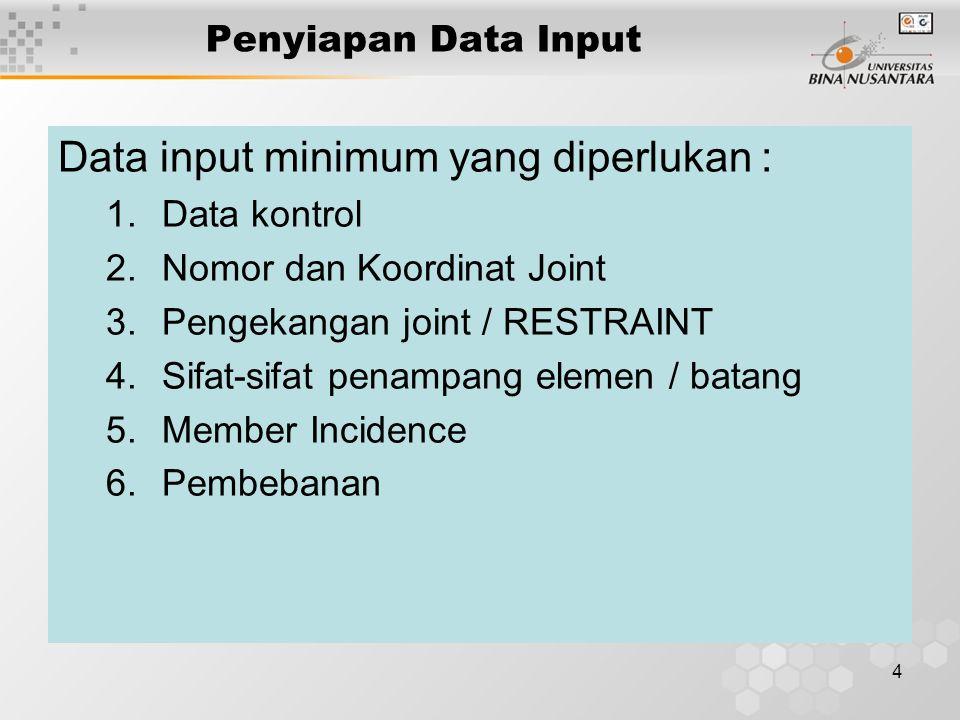 Data input minimum yang diperlukan :