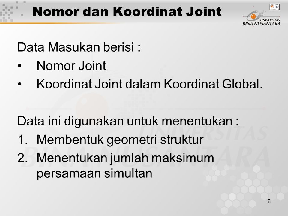 Nomor dan Koordinat Joint