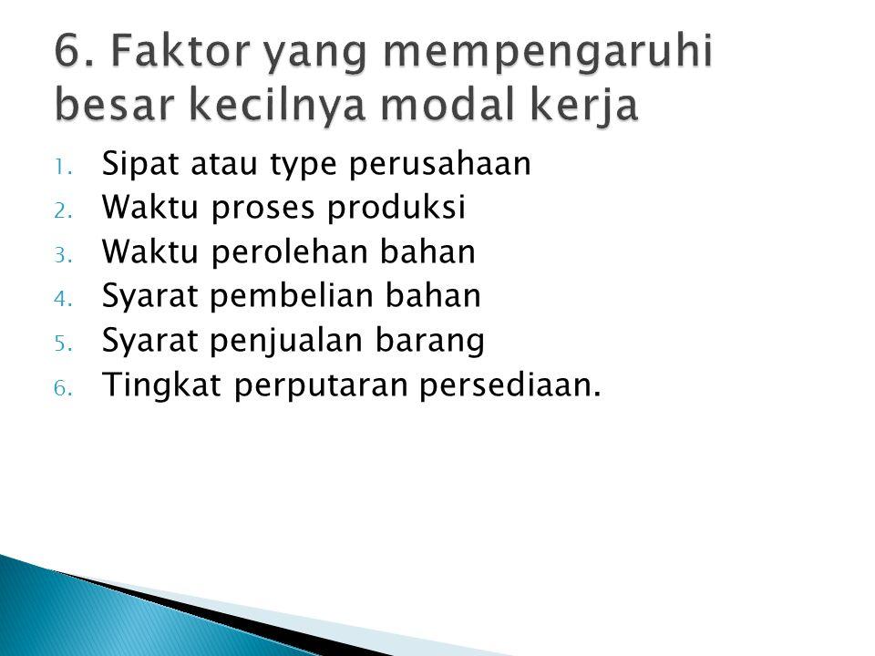 6. Faktor yang mempengaruhi besar kecilnya modal kerja