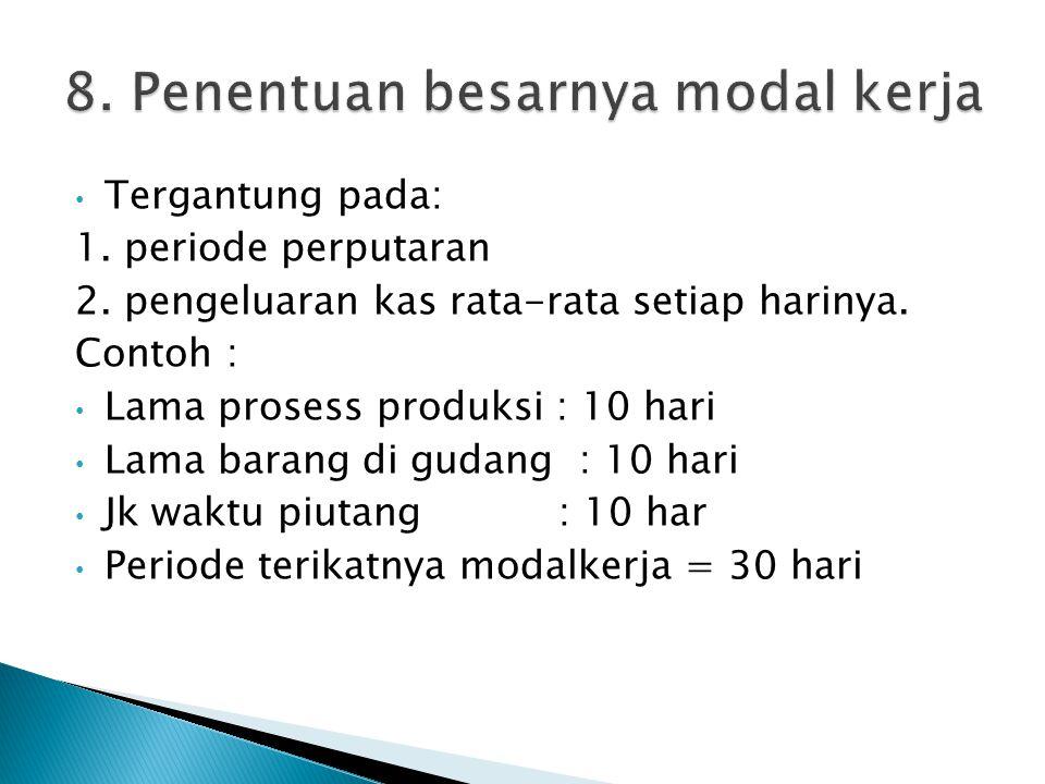 8. Penentuan besarnya modal kerja
