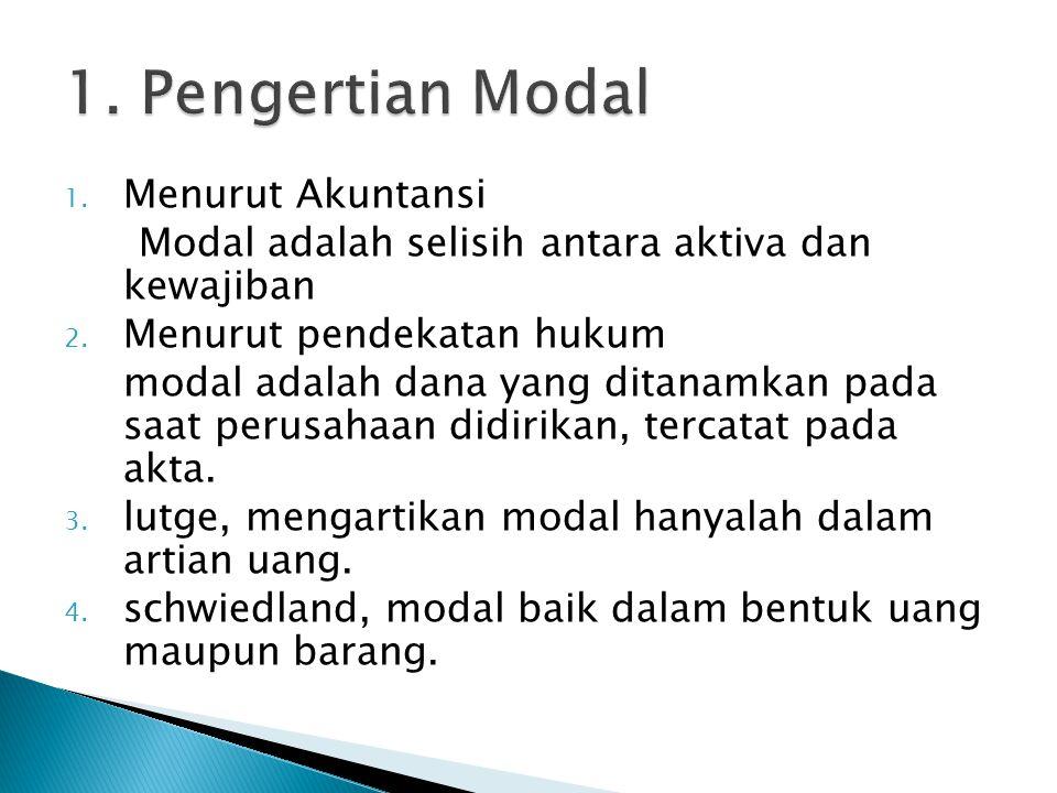 1. Pengertian Modal Menurut Akuntansi