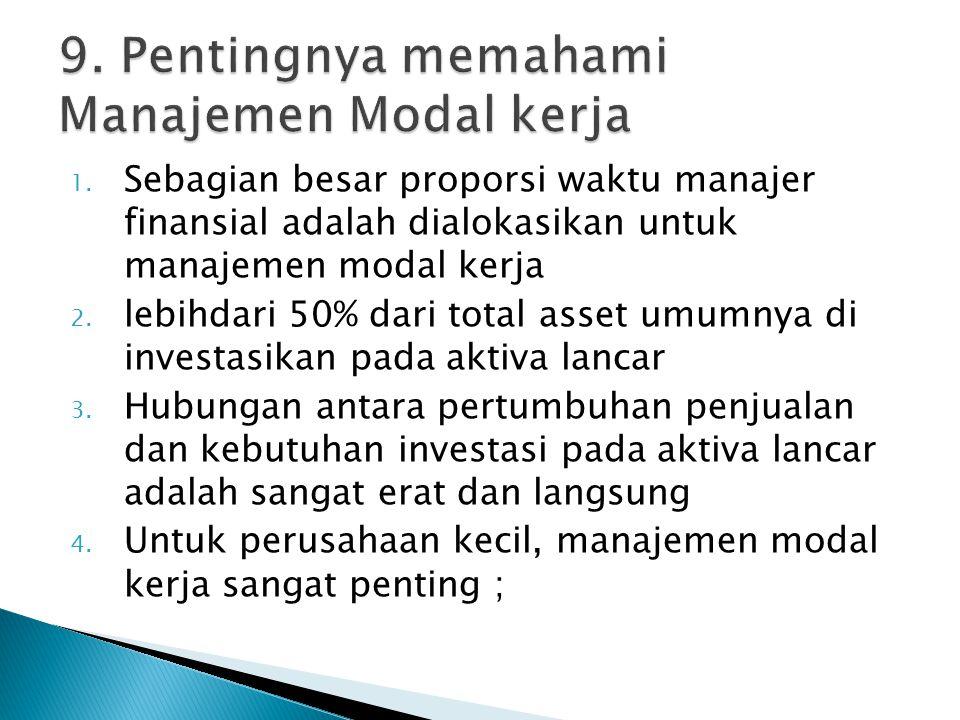 9. Pentingnya memahami Manajemen Modal kerja
