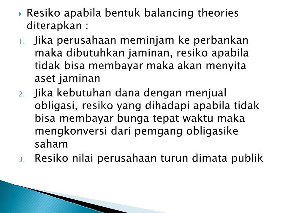 Resiko apabila bentuk balancing theories diterapkan :