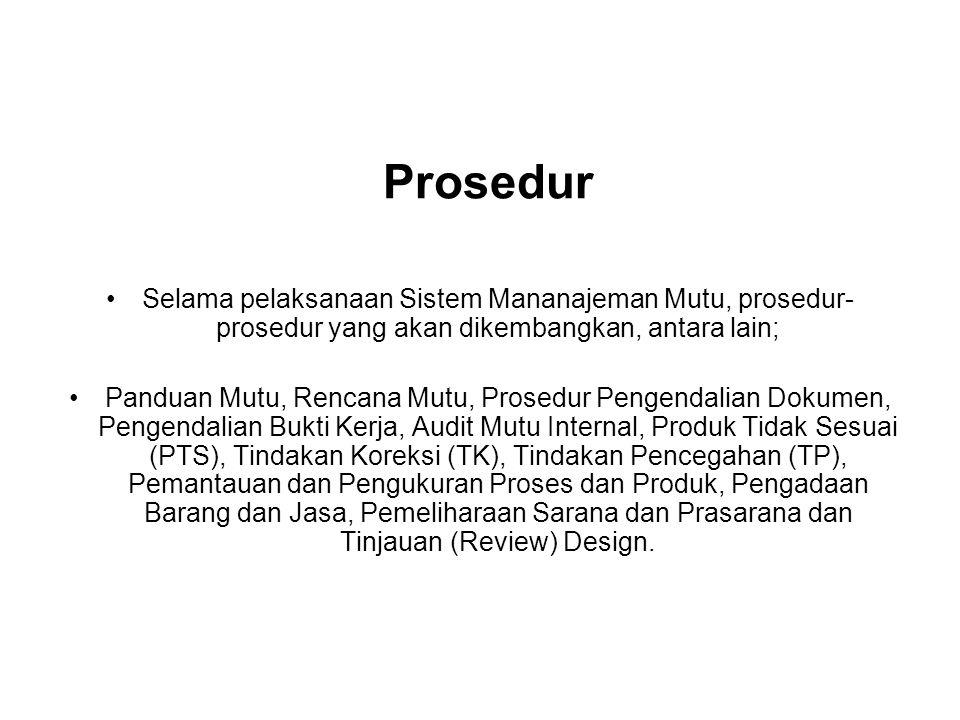 Prosedur Selama pelaksanaan Sistem Mananajeman Mutu, prosedur-prosedur yang akan dikembangkan, antara lain;