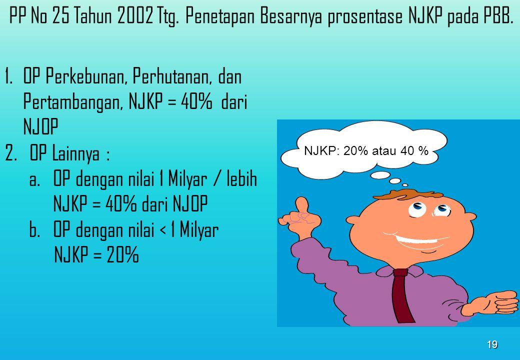 PP No 25 Tahun 2002 Ttg. Penetapan Besarnya prosentase NJKP pada PBB.