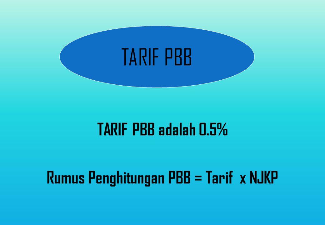 TARIF PBB adalah 0.5% Rumus Penghitungan PBB = Tarif x NJKP