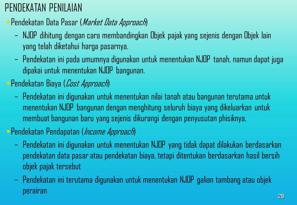 PENDEKATAN PENILAIAN Pendekatan Data Pasar (Market Data Approach)