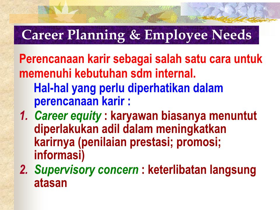 Career Planning & Employee Needs