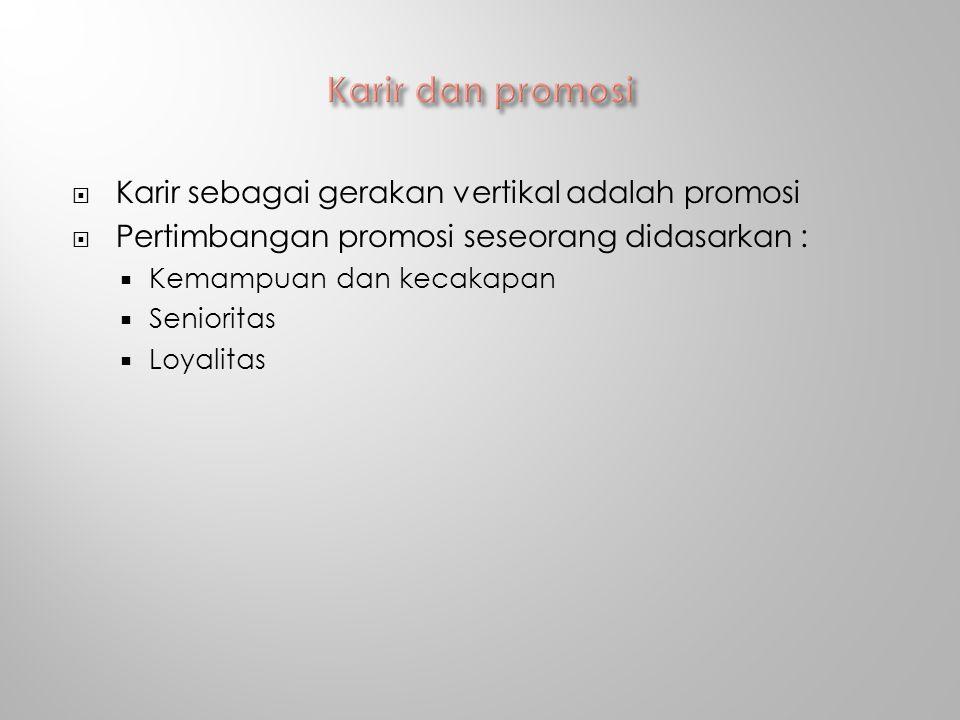 Karir dan promosi Karir sebagai gerakan vertikal adalah promosi