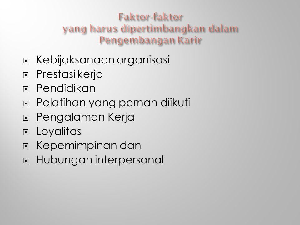 Faktor-faktor yang harus dipertimbangkan dalam Pengembangan Karir