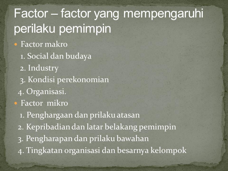 Factor – factor yang mempengaruhi perilaku pemimpin