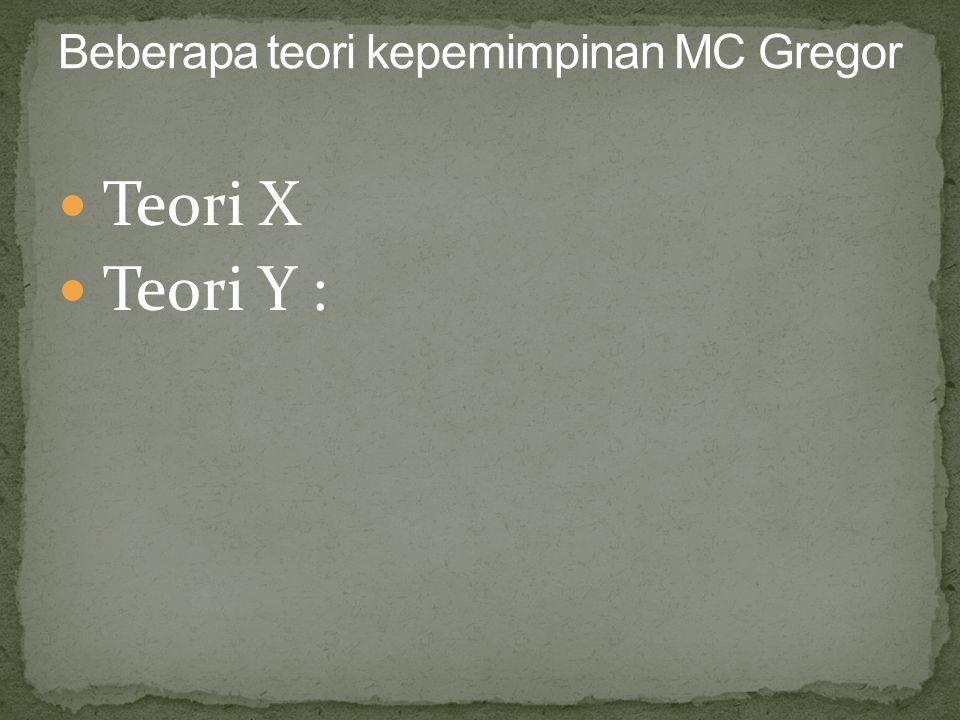 Beberapa teori kepemimpinan MC Gregor