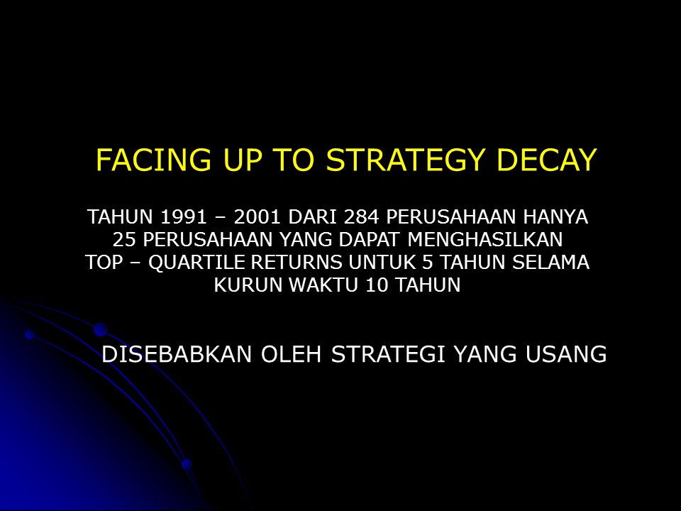 FACING UP TO STRATEGY DECAY