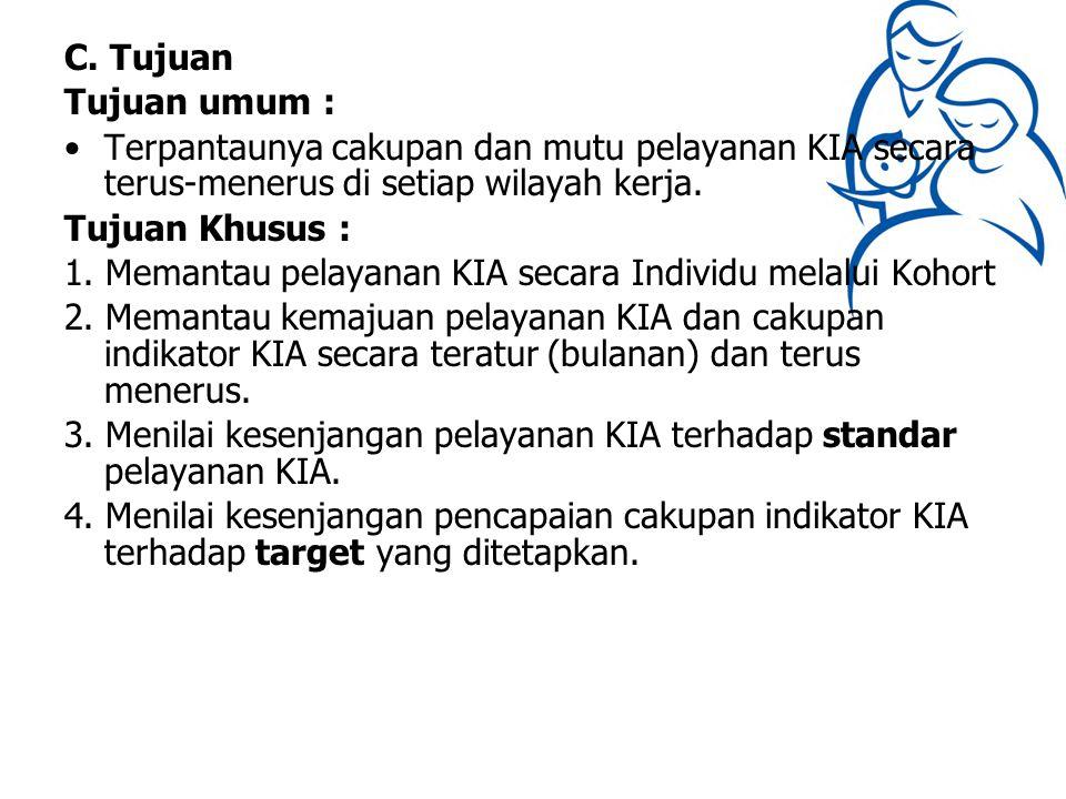 C. Tujuan Tujuan umum : Terpantaunya cakupan dan mutu pelayanan KIA secara terus-menerus di setiap wilayah kerja.