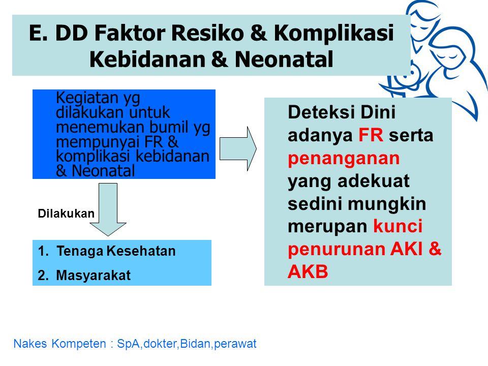 E. DD Faktor Resiko & Komplikasi Kebidanan & Neonatal