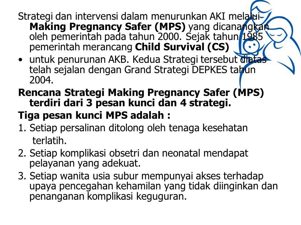 Strategi dan intervensi dalam menurunkan AKI melalui Making Pregnancy Safer (MPS) yang dicanangkan oleh pemerintah pada tahun 2000. Sejak tahun 1985 pemerintah merancang Child Survival (CS)