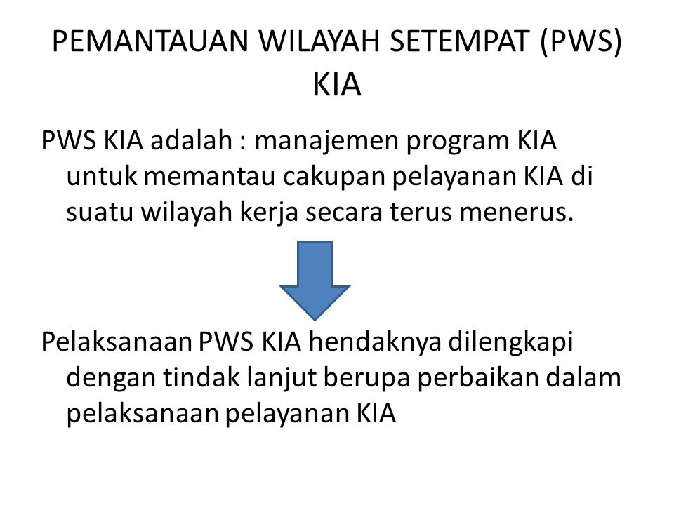 PEMANTAUAN WILAYAH SETEMPAT (PWS) KIA