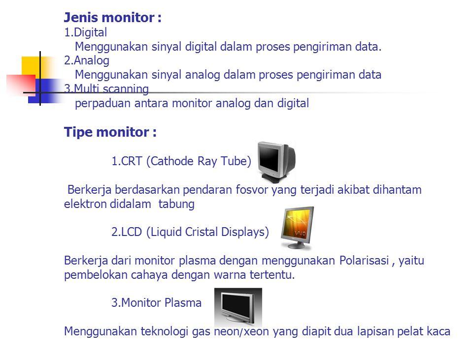 Jenis monitor : 1.Digital Menggunakan sinyal digital dalam proses pengiriman data.