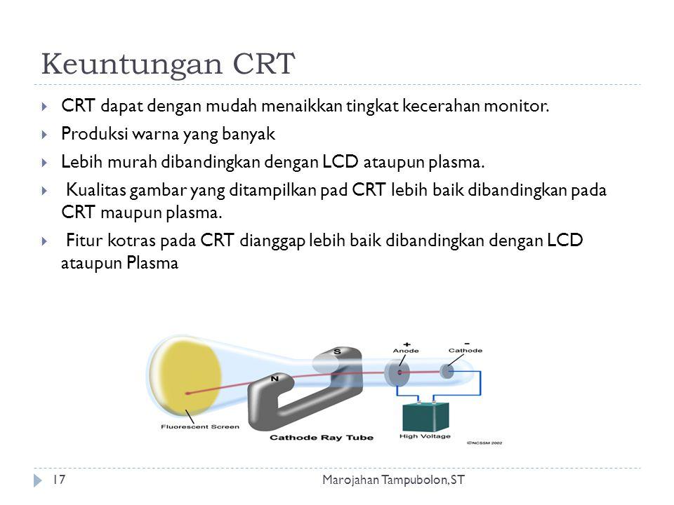 Keuntungan CRT CRT dapat dengan mudah menaikkan tingkat kecerahan monitor. Produksi warna yang banyak.