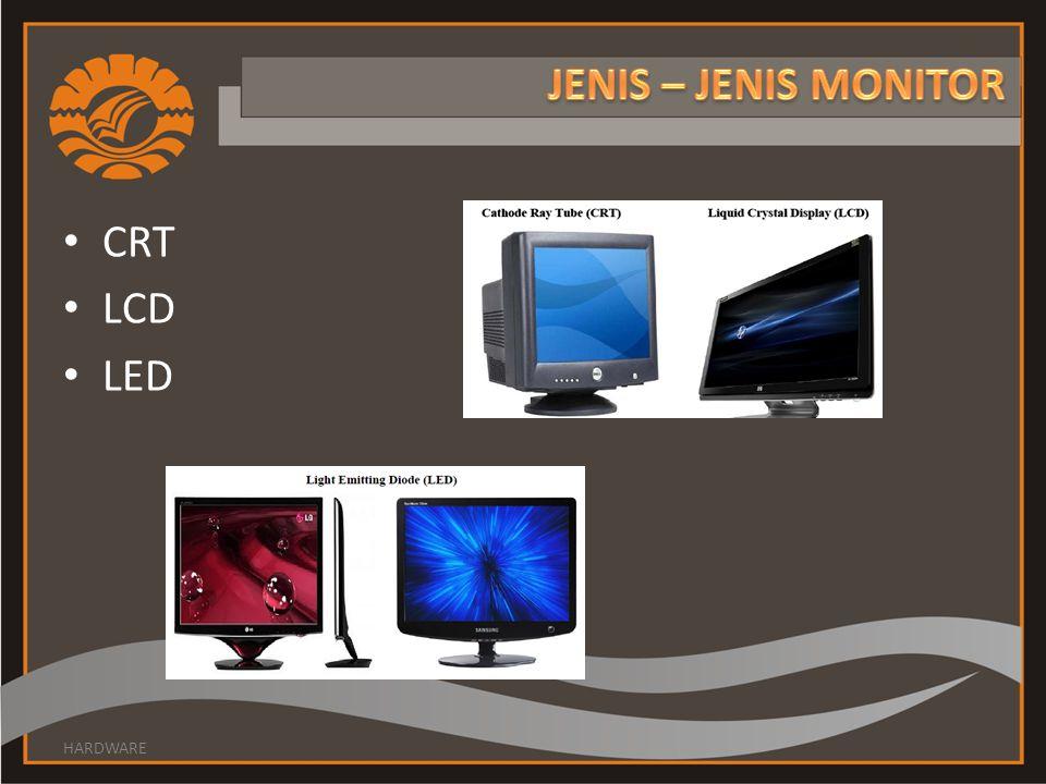 JENIS – JENIS MONITOR CRT LCD LED HARDWARE