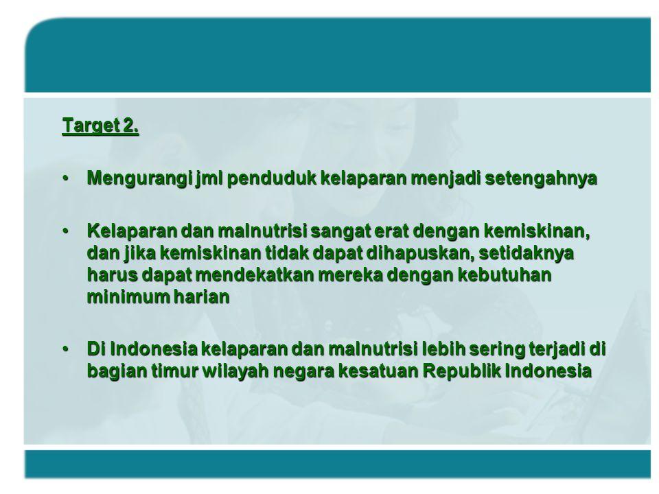 Target 2. Mengurangi jml penduduk kelaparan menjadi setengahnya.
