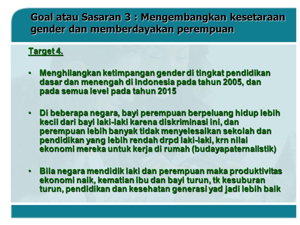 Goal atau Sasaran 3 : Mengembangkan kesetaraan gender dan memberdayakan perempuan