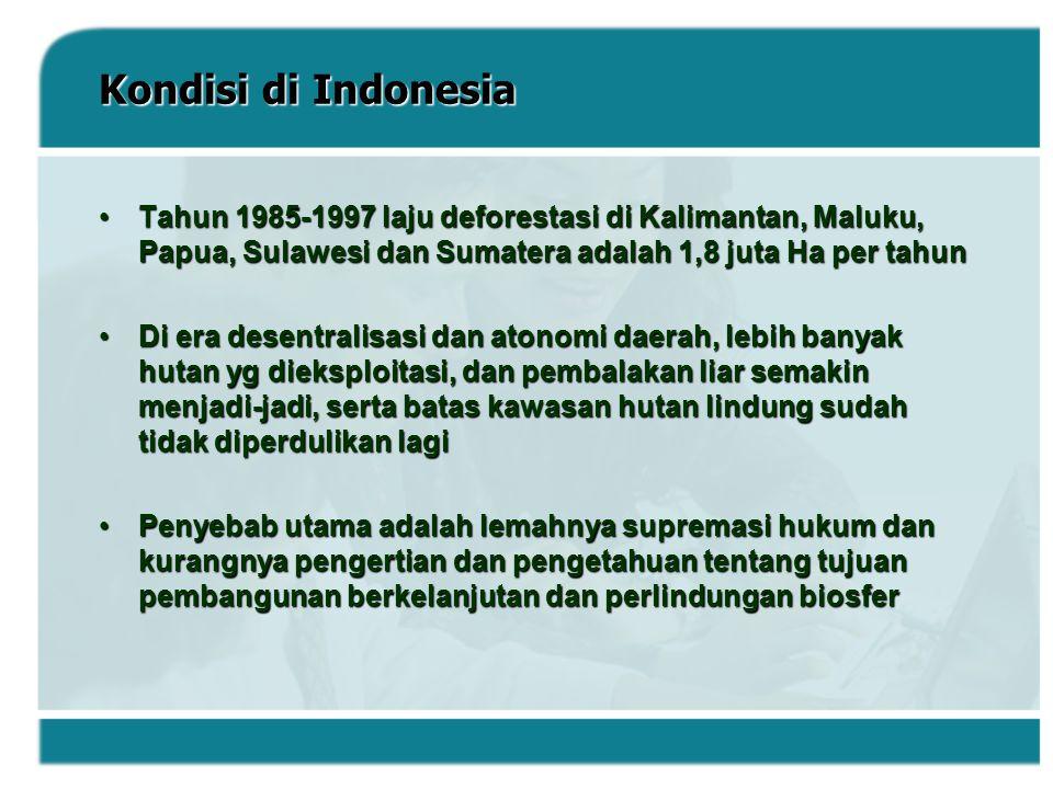 Kondisi di Indonesia Tahun 1985-1997 laju deforestasi di Kalimantan, Maluku, Papua, Sulawesi dan Sumatera adalah 1,8 juta Ha per tahun.