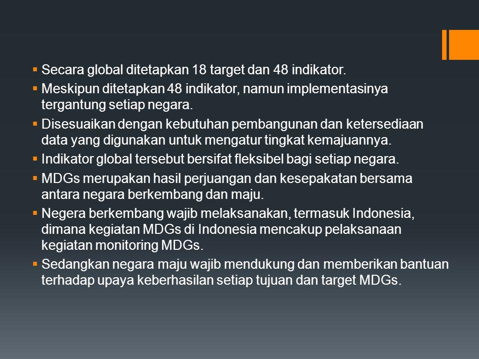 Secara global ditetapkan 18 target dan 48 indikator.
