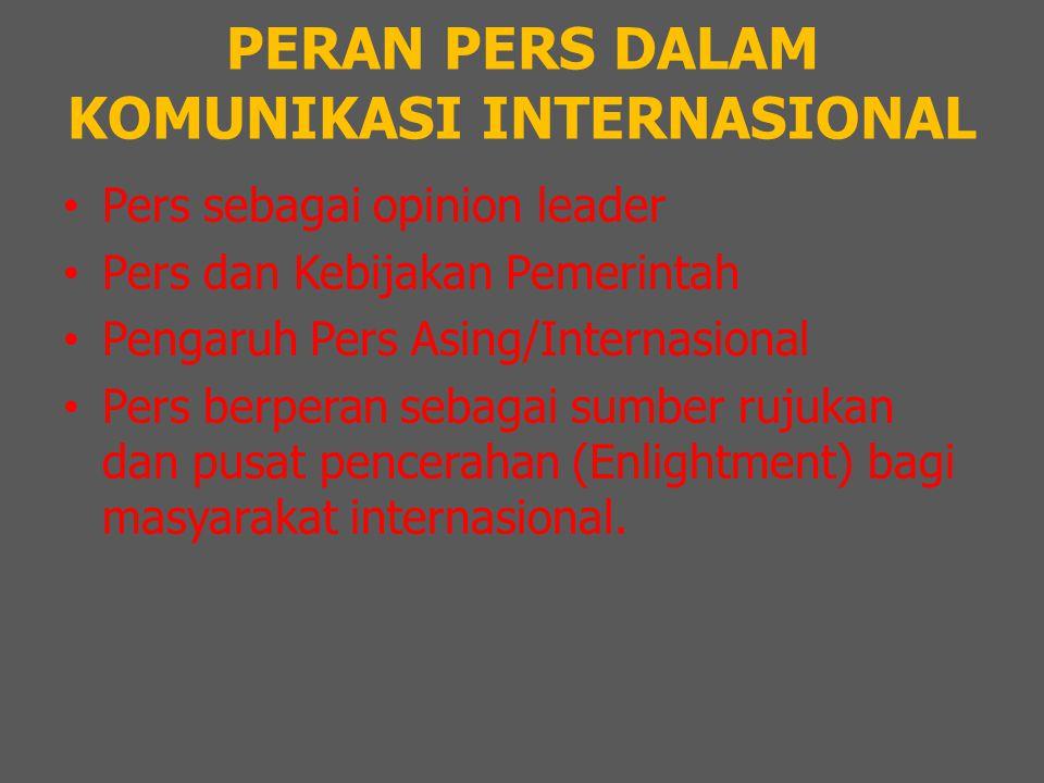 PERAN PERS DALAM KOMUNIKASI INTERNASIONAL