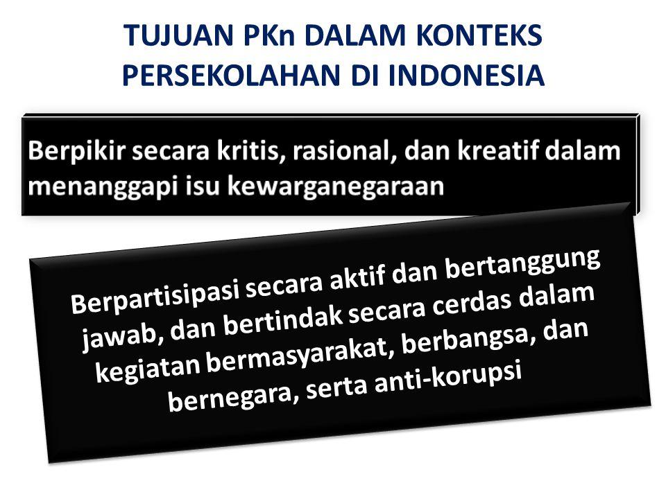 TUJUAN PKn DALAM KONTEKS PERSEKOLAHAN DI INDONESIA