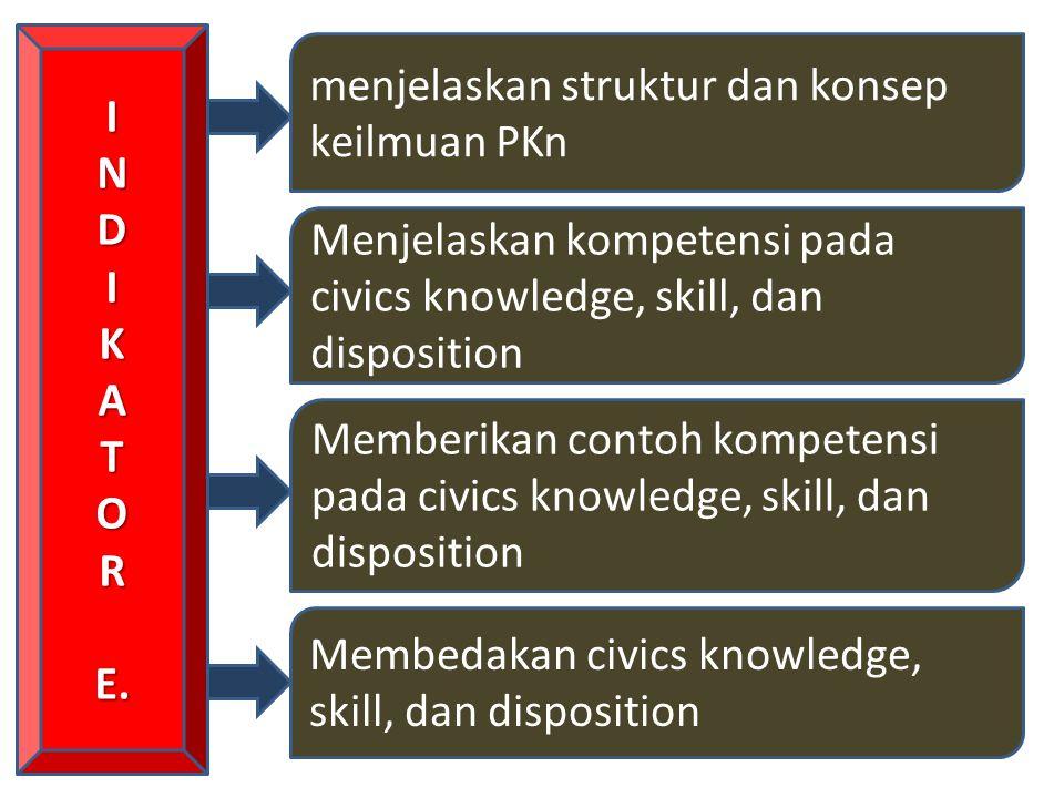 I N. D. K. A. T. O. R. E. menjelaskan struktur dan konsep keilmuan PKn. Menjelaskan kompetensi pada civics knowledge, skill, dan disposition.