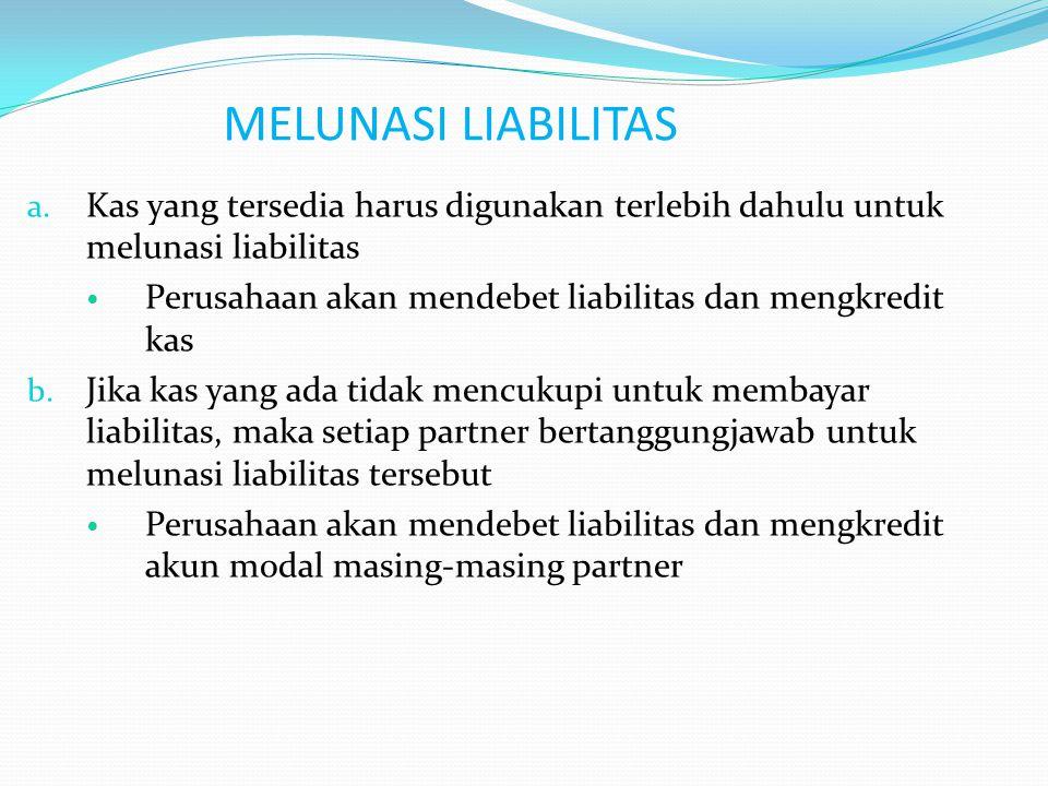 MELUNASI LIABILITAS Kas yang tersedia harus digunakan terlebih dahulu untuk melunasi liabilitas.