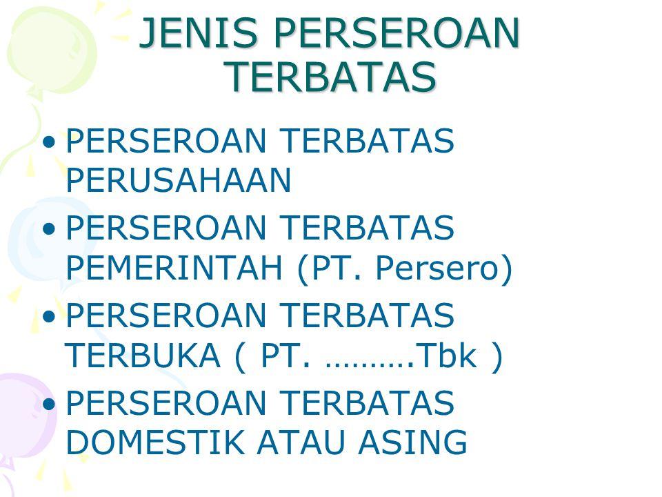 JENIS PERSEROAN TERBATAS