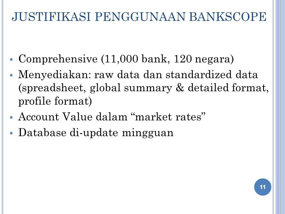 JUSTIFIKASI PENGGUNAAN BANKSCOPE