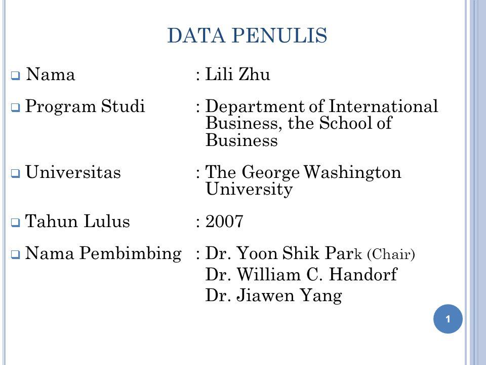 DATA PENULIS Nama : Lili Zhu