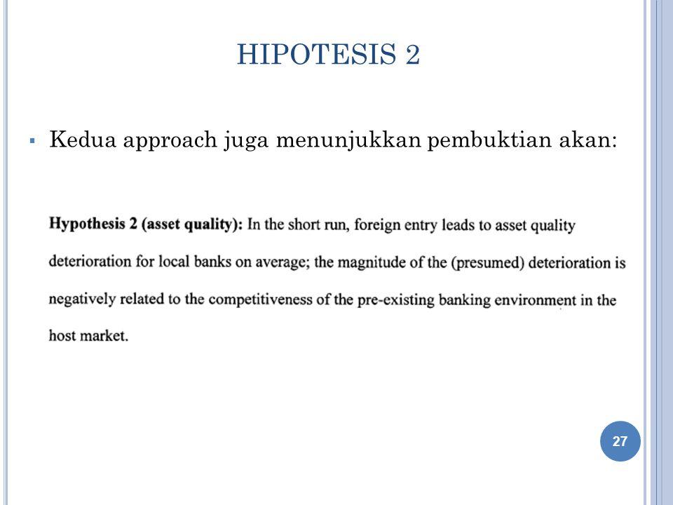 HIPOTESIS 2 Kedua approach juga menunjukkan pembuktian akan:
