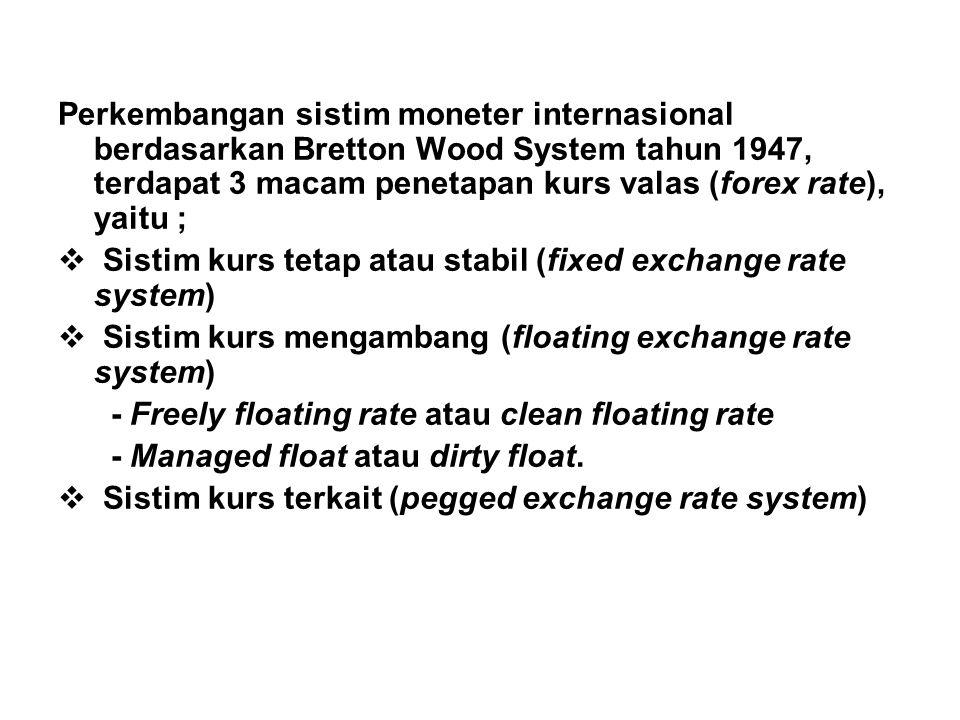 Perkembangan sistim moneter internasional berdasarkan Bretton Wood System tahun 1947, terdapat 3 macam penetapan kurs valas (forex rate), yaitu ;