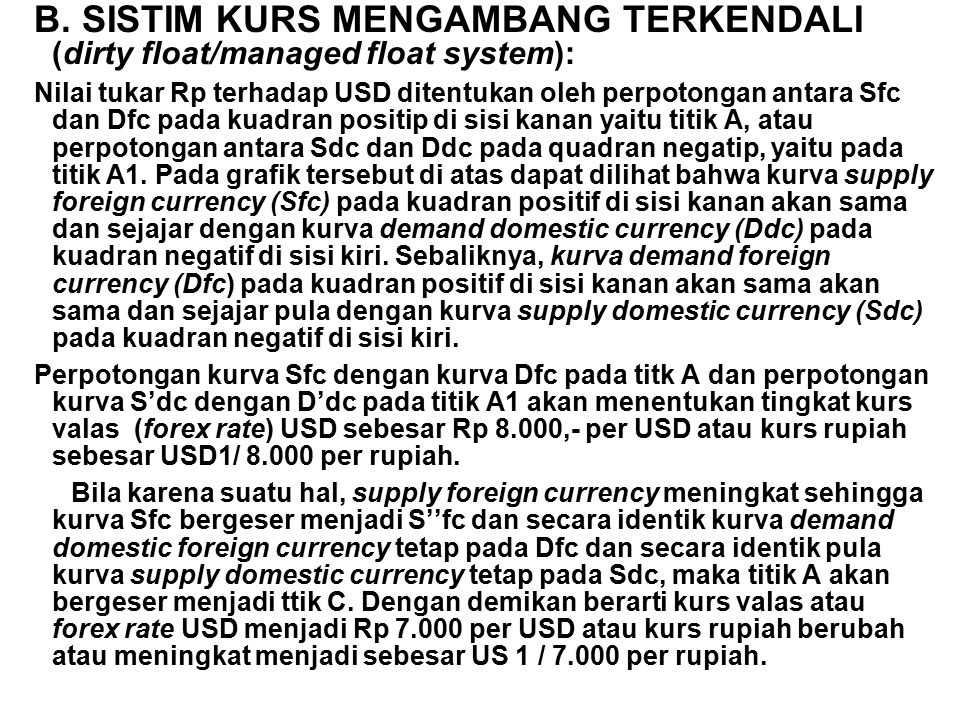 B. SISTIM KURS MENGAMBANG TERKENDALI (dirty float/managed float system):