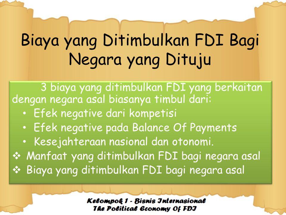Biaya yang Ditimbulkan FDI Bagi Negara yang Dituju