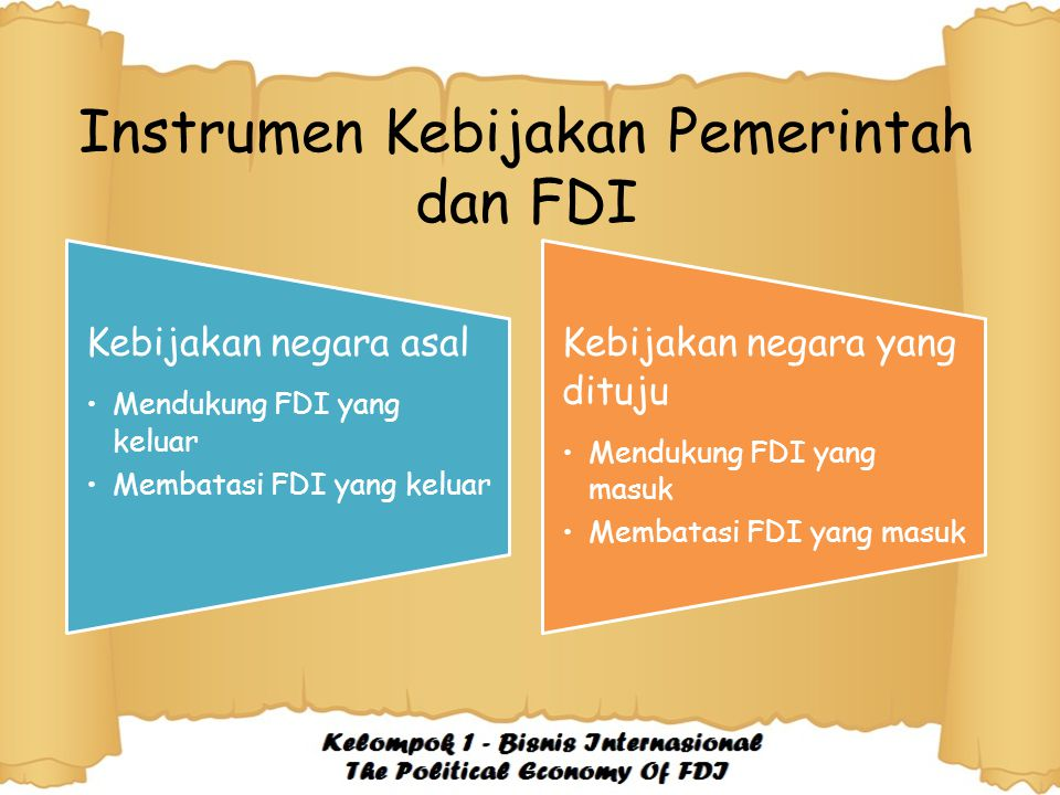 Instrumen Kebijakan Pemerintah dan FDI