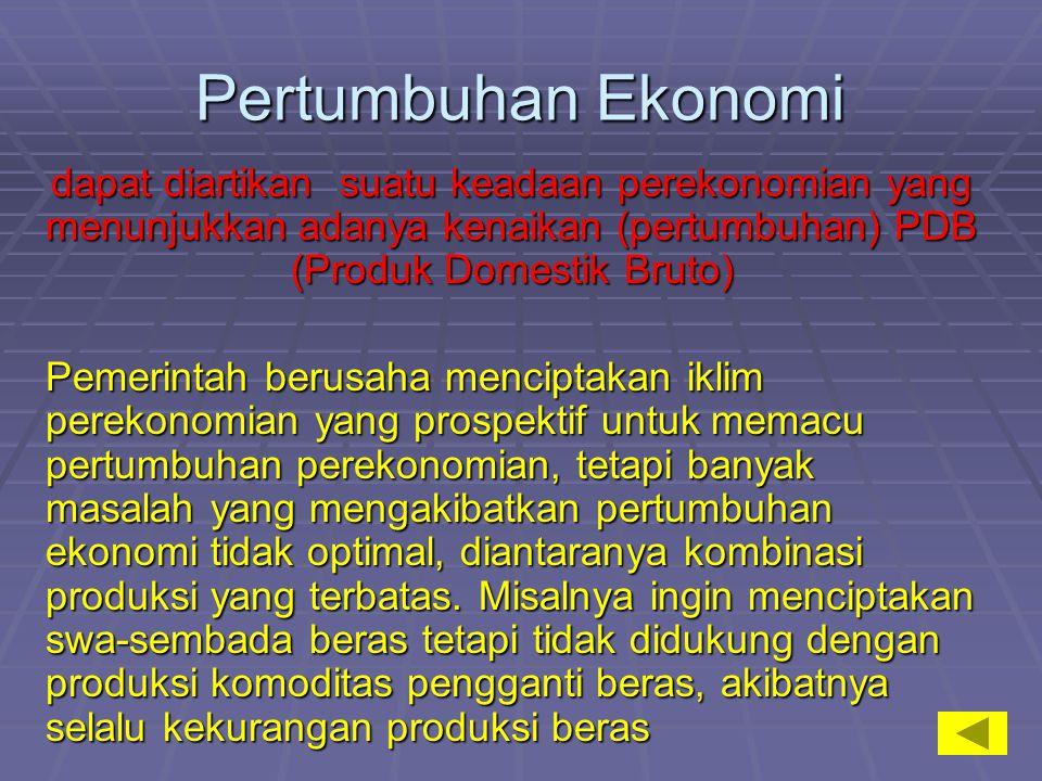 Pertumbuhan Ekonomi dapat diartikan suatu keadaan perekonomian yang menunjukkan adanya kenaikan (pertumbuhan) PDB (Produk Domestik Bruto)