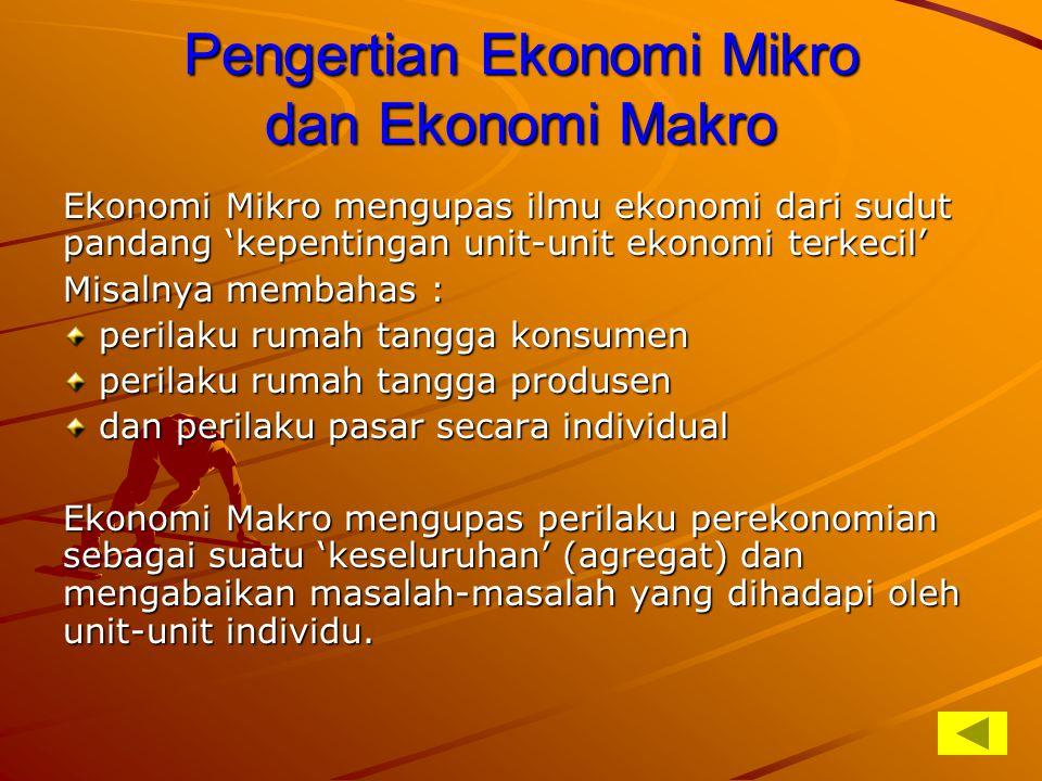 Pengertian Ekonomi Mikro dan Ekonomi Makro