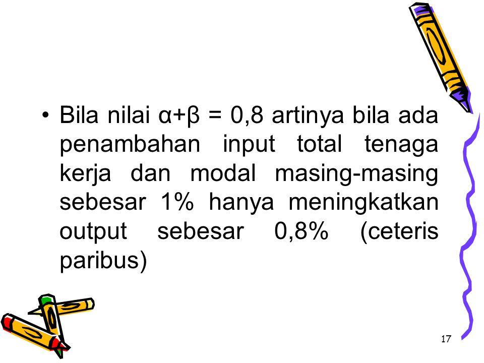 Bila nilai α+β = 0,8 artinya bila ada penambahan input total tenaga kerja dan modal masing-masing sebesar 1% hanya meningkatkan output sebesar 0,8% (ceteris paribus)