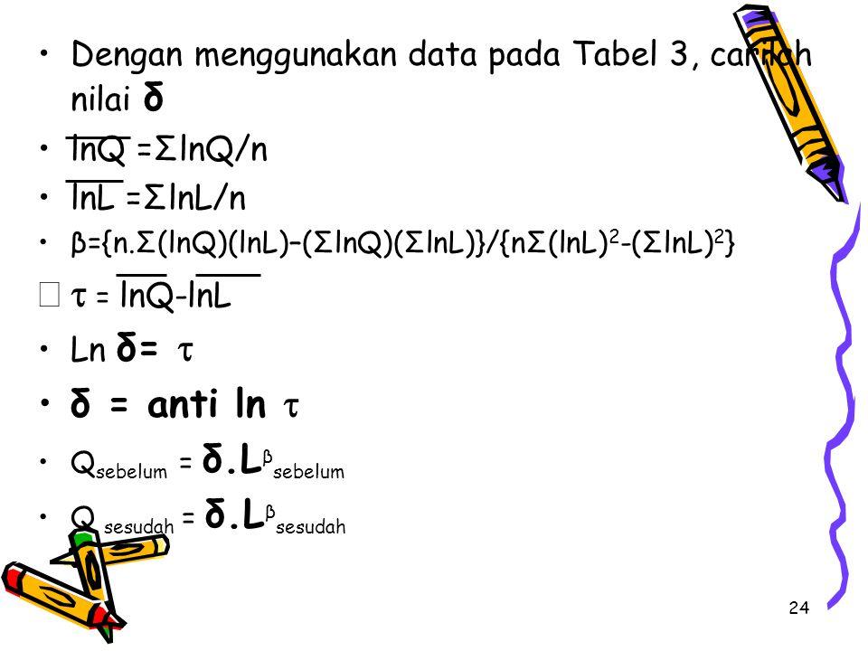 Dengan menggunakan data pada Tabel 3, carilah nilai δ