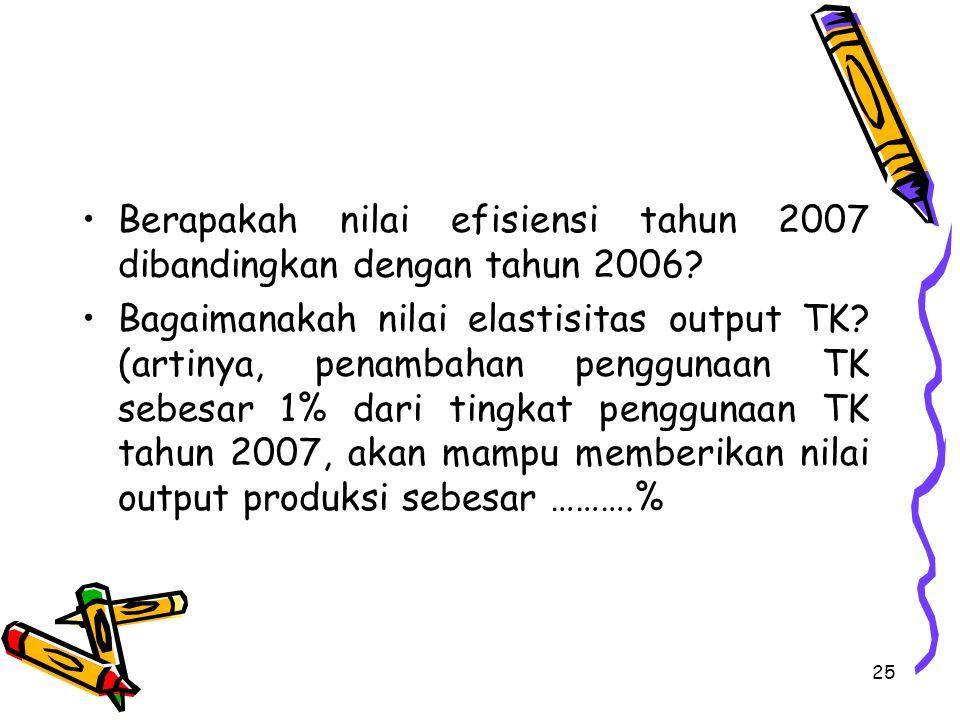 Berapakah nilai efisiensi tahun 2007 dibandingkan dengan tahun 2006