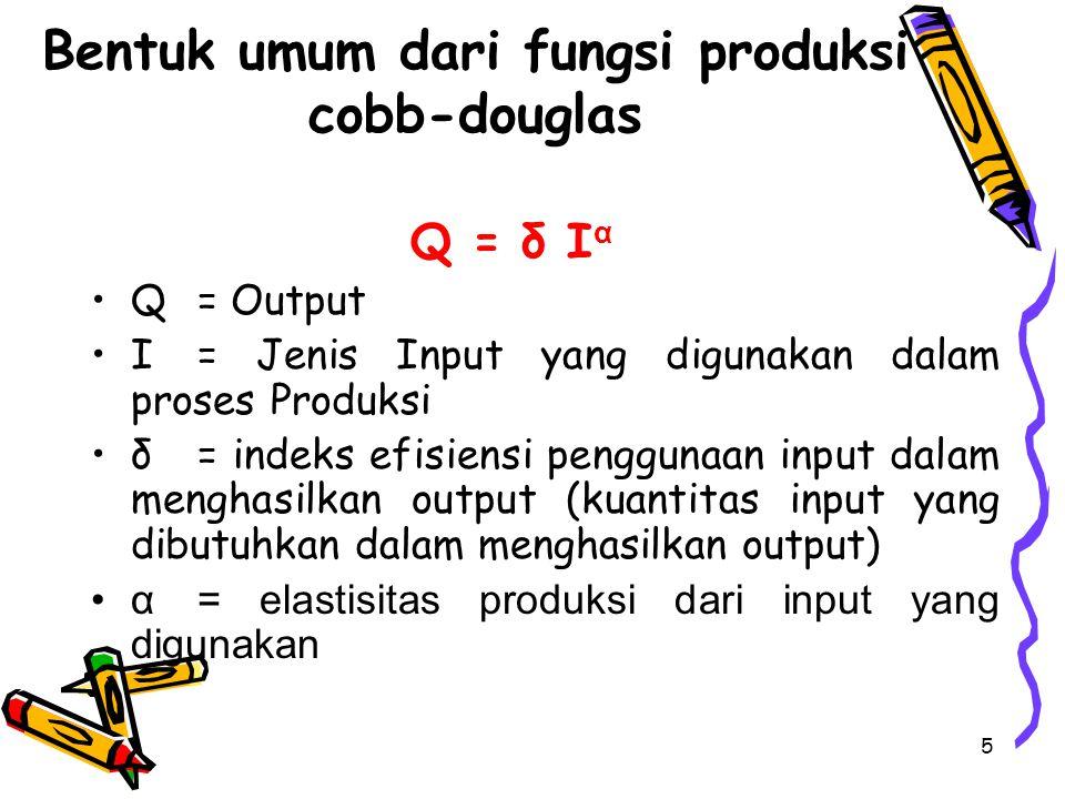 Bentuk umum dari fungsi produksi cobb-douglas