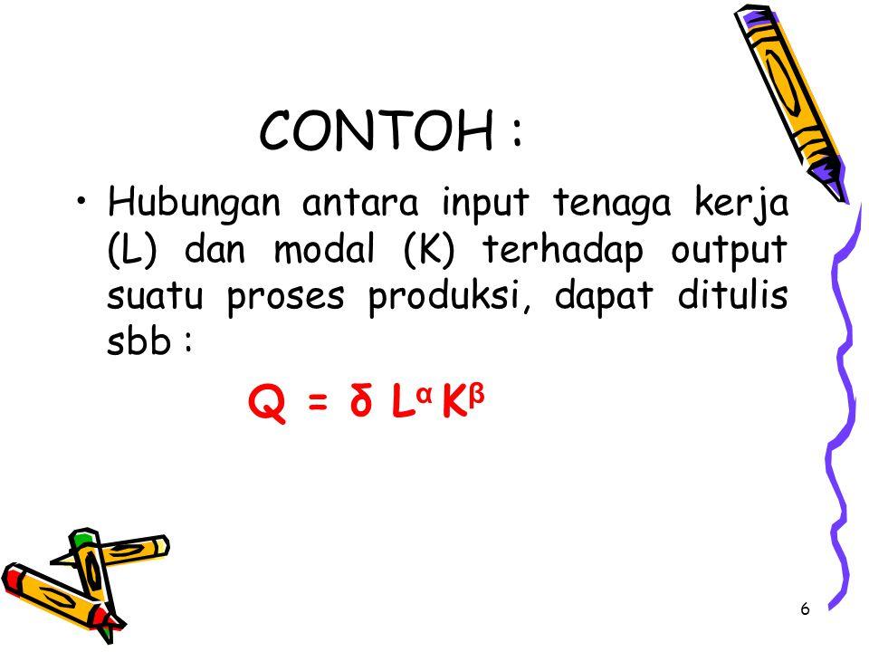 CONTOH : Hubungan antara input tenaga kerja (L) dan modal (K) terhadap output suatu proses produksi, dapat ditulis sbb :