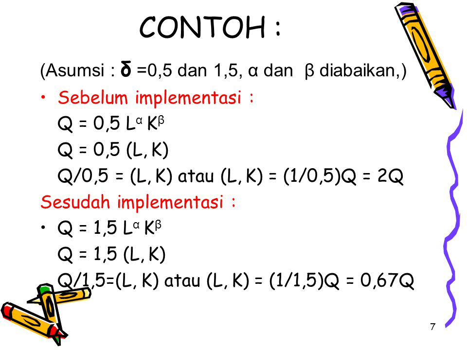 CONTOH : (Asumsi : δ =0,5 dan 1,5, α dan β diabaikan,)