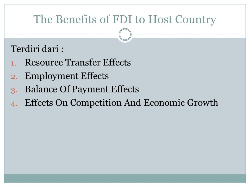 The Benefits of FDI to Host Country