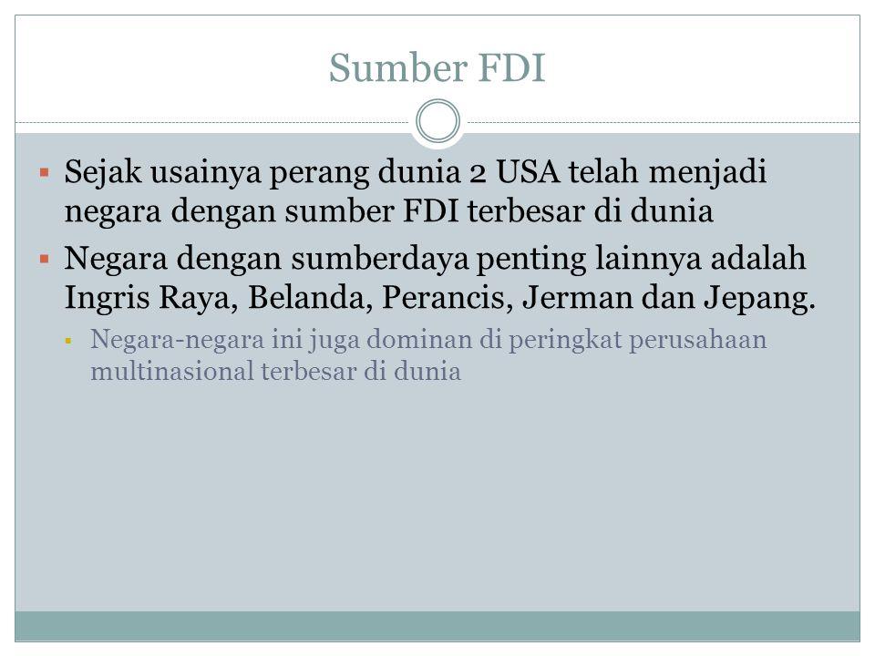 Sumber FDI Sejak usainya perang dunia 2 USA telah menjadi negara dengan sumber FDI terbesar di dunia.